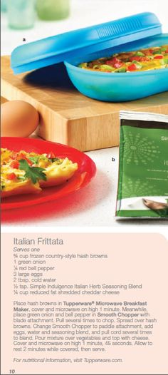 Italian Frittata made with Tupperware Microwave Breakfast Maker and Tupperware Smooth Chopper