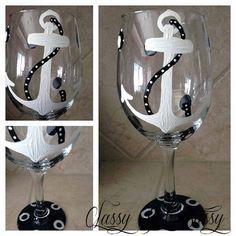 Anchor Nautical Wineglass Design Painted Wine by classyetsassy, $15.00