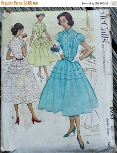 25% Pattern Sale McCall 8953 1950s 50s Shirt Dress  Vintage Sewing Pattern Size 15 Bust 33
