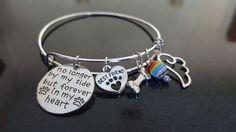 Pet Loss bracelet, Dog, Cat, No longer by my side but forever in heart Memorial
