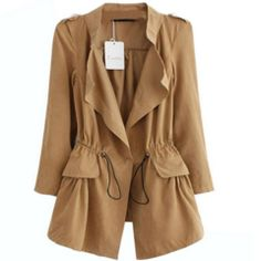 Fashion Long Sleeve Cotton Women Trench Coat - Daisy Dress For Less - 7
