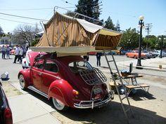 1964 VW Beetle camper Tent Campers, Camper Caravan, Retro Campers, Vw Bus, Kdf Wagen, Front Grill, Sleeping Under The Stars, Roof Top Tent, Teardrop Trailer
