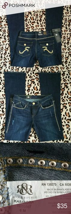 "Nwt Rock & Republic Women Jeans Kasandra w/ embellished gold studs around the back, hips and waist, size 6, inseam 31"", destressed vertical rips, boot cut Rock & Republic Jeans Boot Cut"