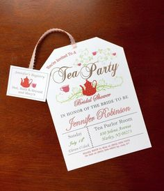 Custom, hand-crafted, made to order, tea party bridal shower invitations! A tea party bridal shower is the new trend for bridal showers and these invitations are perfect for the occasion! I have SO many varieties of tea bags in my shop, printable and custom made. Check them and see what you like best! Thanks! The tea tag includes the registry information! Such a cute idea! Envelopes also included. Each invitation is $1.75 and comes completely assembled with an envelope.  ::::::::::WHATS…