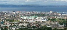 Panoramic view of Easter Road Stadium (Hibernian FC) in Edinburgh.