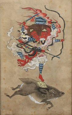 Antique Buddhist Painting Marishi-ten Molizhitian Pusa .Edo period.