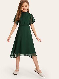 Girls Split Back Flutter Sleeve Fit & Flare Dress | SHEIN