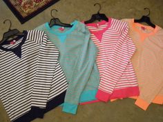 Fun new bright stripes are in!! Hurry before they're all gone!!