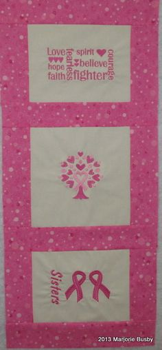 Breast Cancer Themed Wall Hanging