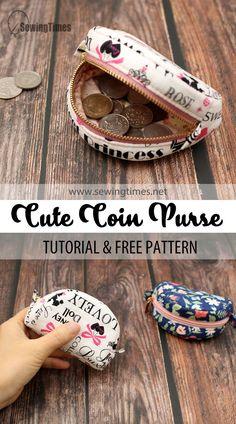 Diy Cute Coin Purse, Coin Purse Tutorial, Wallet Sewing Pattern, Coin Purse Pattern, Small Sewing Projects, Sewing Tutorials, Sewing Ideas, Purses And Bags, Coin Purses