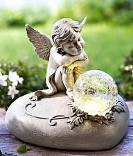 Solar LED Grableuchte Grablicht Grablaterne Grabdekoration Engel Engelchen Figur