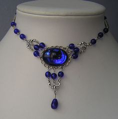 goth victorian necklace with blue glass cabochon by gothkaitani, $24.99