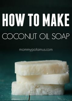 Easy coconut oil soap recipe - for shampoo, bathing, and laundry! Only 4 ingredients: coconut oil, lye, water, and essential oils!