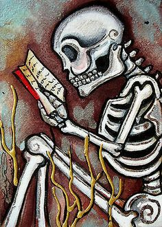 Lisa Luree Art Original Day of The Dead Skeleton Reading Book OOAK ACEO Painting | eBay
