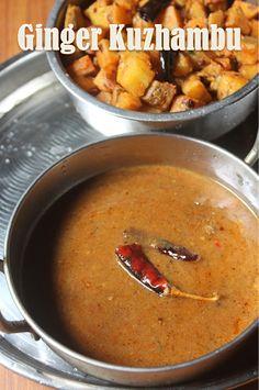 Ginger Kuzhambu Recipe - Inji Kuzhambu Recipe (without coconut) - Yummy Tummy Easy Veg Recipes, Indian Food Recipes, Gourmet Recipes, Great Recipes, Cooking Recipes, Healthy Recipes, Indian Foods, Ethnic Recipes, Curry Recipes