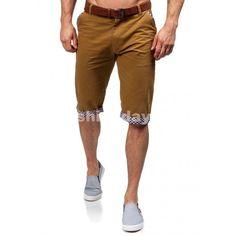 Pánske krátke nohavice karamelovej farby so vzorovaným lémovaním -  fashionday.eu 31026083dc