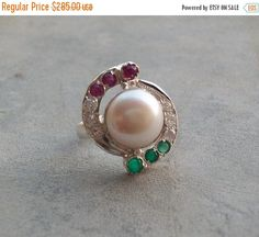 Pearl ring  Emerald ring  Ruby ring  Wedding ring  by Studio1980