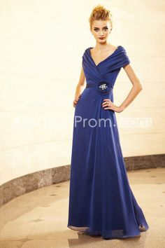 Elegant Flower Crystal A-Line V-Neck Floor-Length Mother of the Bride Dresses