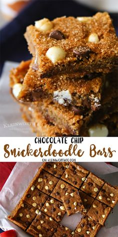 Chocolate Chip Snickerdoodle Bars- easy chocolate chip cookie bar recipe loaded with cinnamon & topped with a crisp cinnamon & sugar crust. SpiceYourHoliday AD