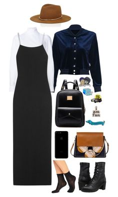 """""""White, black, and navy"""" by monicaisabel ❤ liked on Polyvore featuring Derek Lam, The Row, Chloé, PINTRILL, ban.do, Big Bud Press, Janessa Leone, Frye and Monki"""