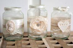SHABBY CHIC/VINTAGE WEDDING DECORATED GLASS JAR TEA LIGHT HOLDERS/FAVOURS x 12