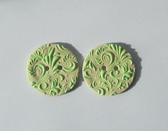 Light green and ecru buttons - handmade buttons for knits and crochet -Buttons for knit wear - artisan buttons - small polymer clay buttons by vanessasclay on Etsy