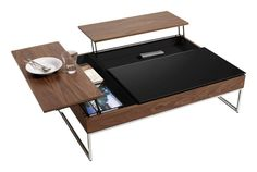Functional elegance; great for small spaces & couch potatoes - BoConcept Functional Coffee Table with Storage