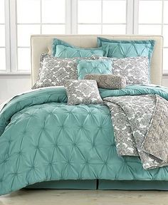 I just like the two tone idea, not specifically these colors!  Jasmine Blue 10 Piece Queen Comforter Set – Bed in a Bag – Bed
