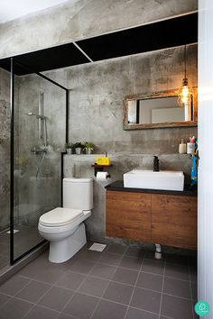 Sublime 13 Best Industrial Bathroom Decoration Ideas You Must Try Do you want to renovate bathroom decor at home? You can try industrial bathroom decor that is comfortable and not many people have it. Industrial Bathroom Design, Industrial Toilets, Bathroom Interior Design, Rustic Industrial, Basement Bathroom, Small Bathroom, Modern Bathroom, Bathroom Ideas, Bathroom Cabinets