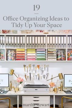 Our office organization ideas are sure to keep your space tidy. From wall-mounted shelves to desk top organizers, explore some of the best ways to maintain your workspace, here.