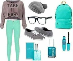 Grey + Turquoise | Awesome Fall Outfits for Teen Girls for School                                                                                                                                                                                 More