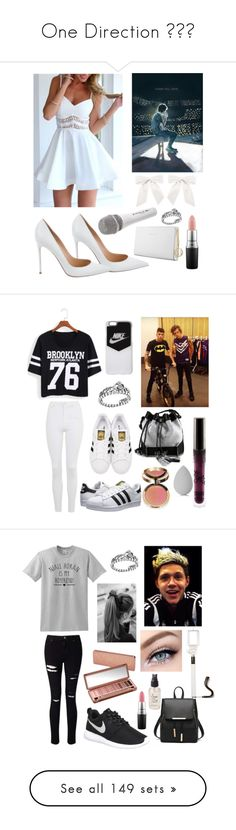 """""""One Direction """" by pinklacelove ❤ liked on Polyvore featuring beauty, Gianvito Rossi, Sennheiser, Trussardi, MAC Cosmetics, Pandora, Topshop, NIKE, adidas Originals and Carianne Moore"""