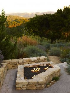 Fire pit with stone bench