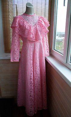 Vintage wedding debut dress 1980s,lace,atlas,DDR,pink