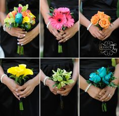 this is cool - I assume its the Maid of Honor holding the bouquet with all the flowers mixed together..