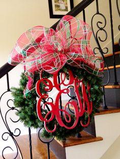 Large Christmas Monogram Wreath, Holiday Decor, Initial Wreath, Staircase Wreath