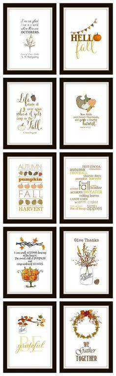 10 Free Fall Printables Ready to frame for instant DIY wall art. They make great cards and screensavers too! All are original and all the easy links are right here. Autumn Crafts, Thanksgiving Crafts, Holiday Crafts, Holiday Fun, Thanksgiving Decorations, Fall Decorations Diy, Vintage Thanksgiving, Harvest Decorations, Thanksgiving Table