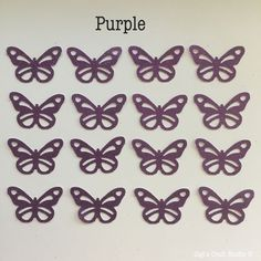 """12 pcs. BUTTERFLY-GLITTER PURPLE 1 1/8""""x 3/4"""" Hand Punched-made w/Cardstock  