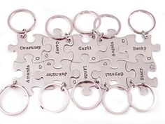 Bridesmaid Gift Puzzle Piece Set - Hand Stamped Puzzle Piece Key Chain Set of 10 - Wedding - Bridal Party - Bridesmaid Gifts - Wedding Favor on Etsy, $130.00