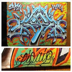 A little black book action! I used spray paint for the back ground and acrylic paint for the letters