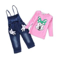 Tag a friend who would love this!     FREE Shipping Worldwide     Buy one here---> https://www.savingsonfashion.com/samgami-baby-childrens-clothing-jeans-girls-dress-sets-cartoon-long-sleeve-t-shirtbib-short-petals-dot-pants-suit-girls-minne/