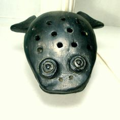 Frog Incense Burner Black Pottery from Oaxaca Mexico 1960s