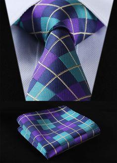 "TC4033Q8 Aqua Purple Check 3.4"" 100%Silk Wedding Jacquard Woven Men Tie Necktie Pocket Square Handkerchief Set Suit"