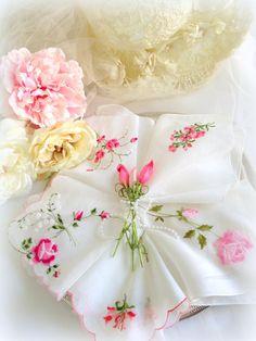 Pink Rose Hankies Vintage Wedding Bride White by LollysCubbyHole