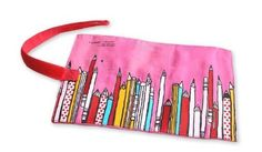"""Pencil Pattern Pencil Case, Makeup Cosmetic Bag, Roll Case Bag Holder, Pink by S & R. $3.99. Perfect size for mascara, lipstick, pens, pencils, sunglasses and other small items. Approximate measurements (Unfolded): 10.6"""" x 7"""" (27cm X 18cm). Main color: Pink. Red fabric roll case holds 15+ pencil or brushes.. Colorful background with cute pencil patterns.. Perfect size for mascara, lipstick, pens, pencils, sunglasses and other small items.  Note: Some of the bags may have slightly..."""
