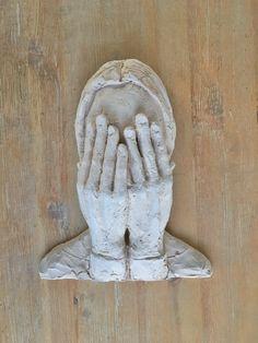 Hands Portrait  Head and hands Sculpture  Girl by morphingpot #hands #sculpture #portrait #white #clay #terracotta #wallart #wallsculpture