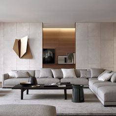 45 Modern Industrial Interior Design Living Room Décor Ideas - HOMYFEED In every age, furniture is made for the same basic purposes. Tables, desks and workbenches provide space for work or … Living Room Modern, Living Room Interior, Home Living Room, Modern Contemporary Living Room, Living Area, Cozy Living, Simple Living, Luxury Living Rooms, Monochromatic Living Room