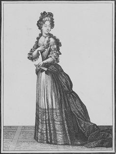 Court Dress, Hairdress à la Duchesse with Cruches, long locks falling over her shoulders. Narrow pearl necklace with cross. Note: the manteau is by now held back with jewelled fasteners. The long trained manteau is lined with a brocaded fabric, 1679