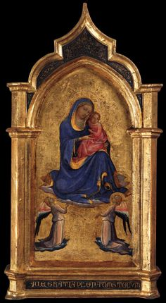 Madonna and Child with Two Angels, c. 1420. Tempera on panel, 68 x 36 cm. Liechtenstein Museum, Vienna.
