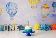 up up and away themed hot air balloon boy first birthday cake smash Boys First Birthday Cake, Birthday Cake Smash, Hot Air Balloon Cake, Party Events, Event Styling, First Birthdays, Celebrations, Balloons, Desserts